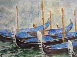 """title=""""<b>Венецианские гондолы.</b><br />Бумага, Акварель, 30х40, 2007г."""""""