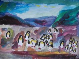 """title=""""<b>Пингвины на острове Маккуори</b><br />Лена Л. 7 лет"""""""