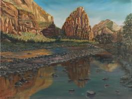 "title=""<b>Мертвое озеро в скалах Зайона. Юта</b><br />Холст, масло, 41х51, 1999г."""