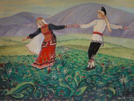 "title=""<b>Башкирский танец</b><br />Бумага, гуашь, 40х50, 2011г."""