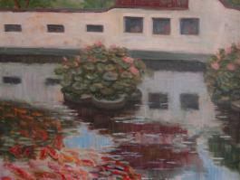 """title=""""<b>Красные рыбки в Юй Гарденс. Шанхай</b><br />Холст, масло, 80х60, 2012г."""""""