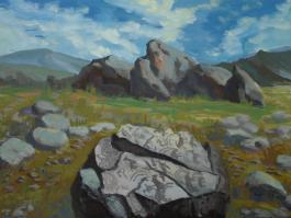 "title=""<b>Петроглифы Тамгалы. Казахстан</b><br />Картон, темпера, 30х40, 2009г."""