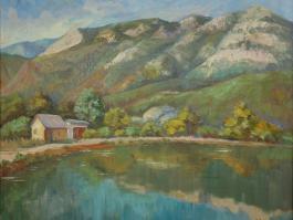 """title=""""<b>Озеро в Крыму</b><br />Холст, масло, 40х50, 2011г."""""""